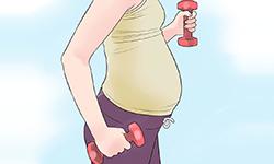 Беременная женщина с гантелями