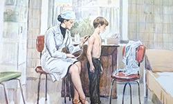 Врач слушает ребёнка